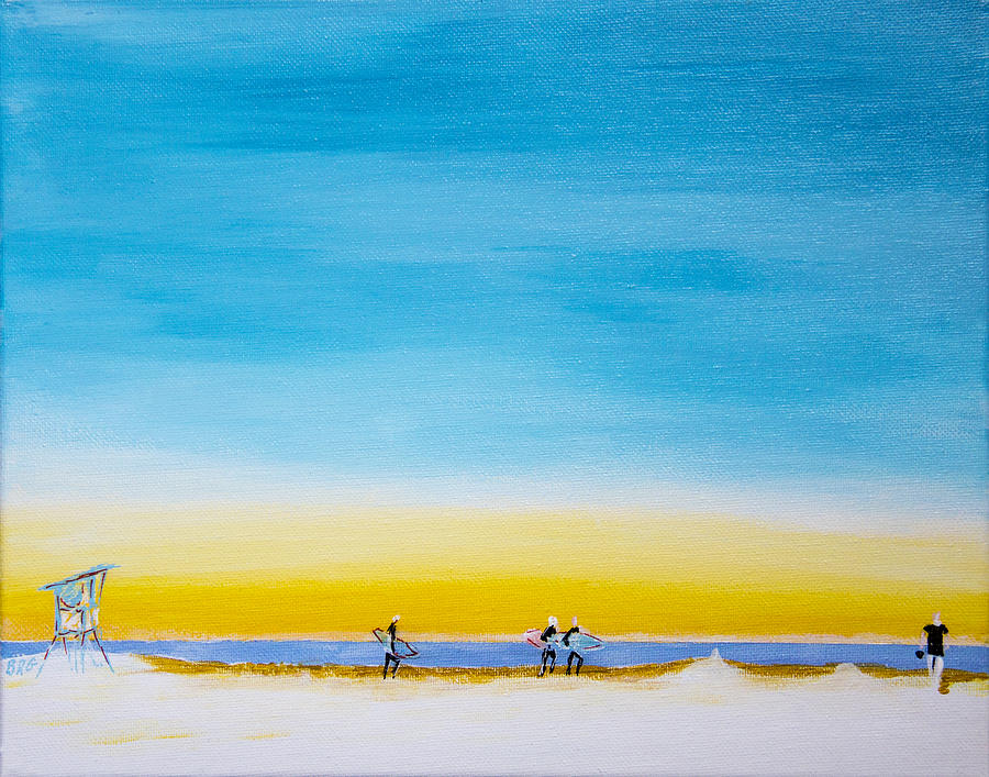 Surfers On The Beach Painting