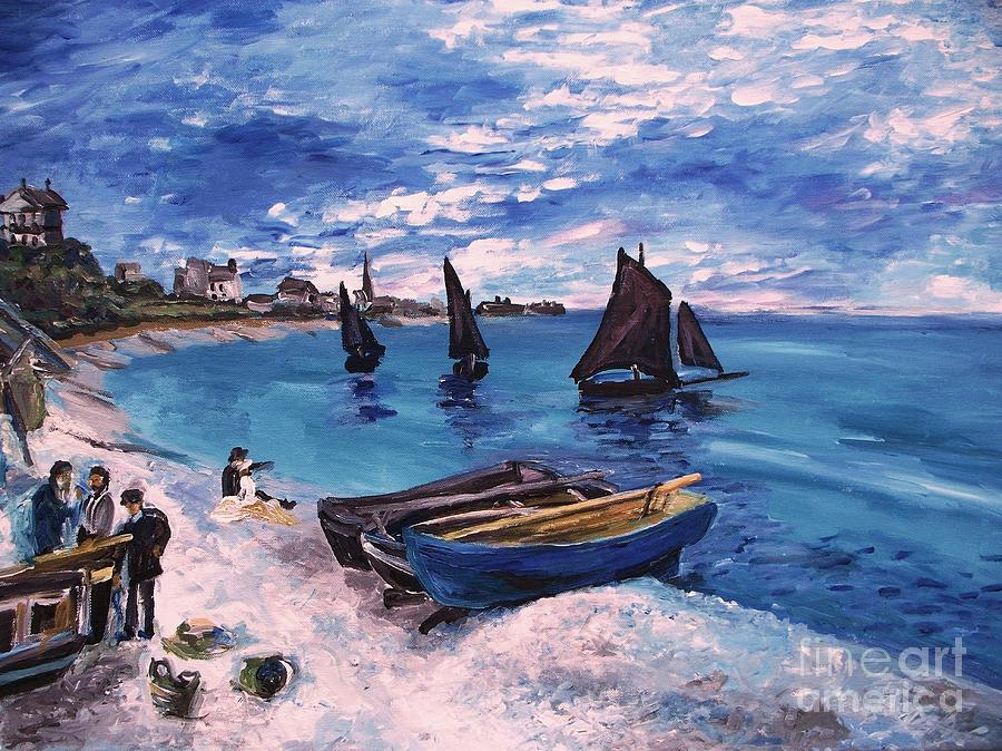 Monet Painting - Beach At Sainte Adresse Monet by Eric  Schiabor