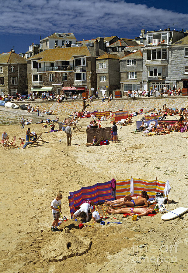 Summer Photograph - Beach At St Ives Cornwall Uk 1990 by David Davies