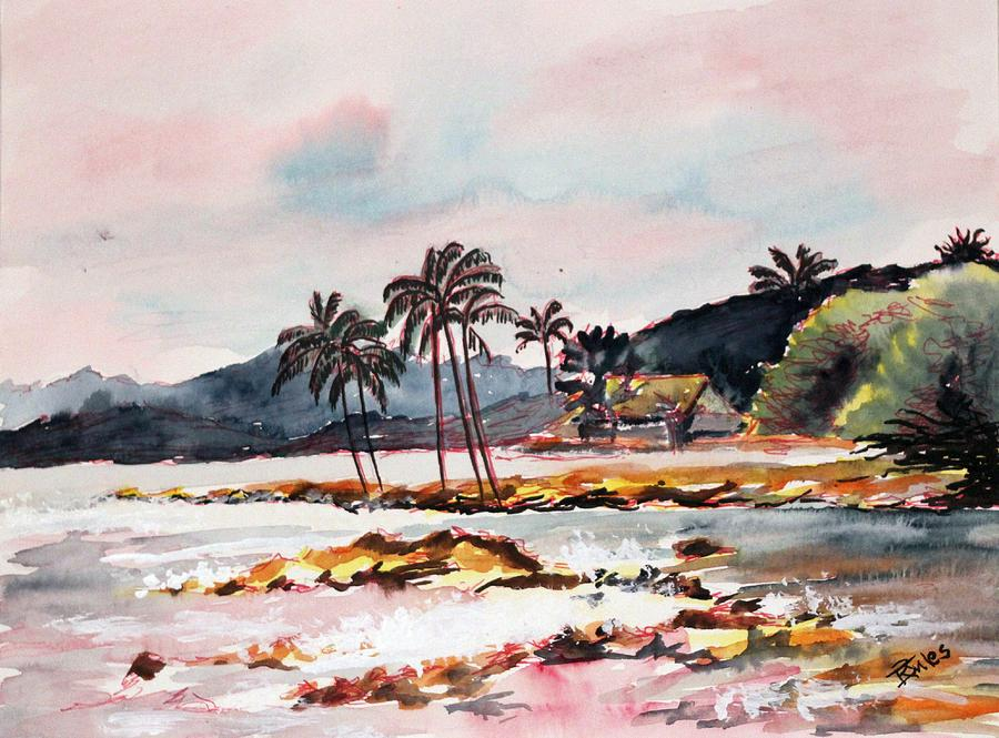 Beach Painting - Beach At Waikiki by Richard Jules