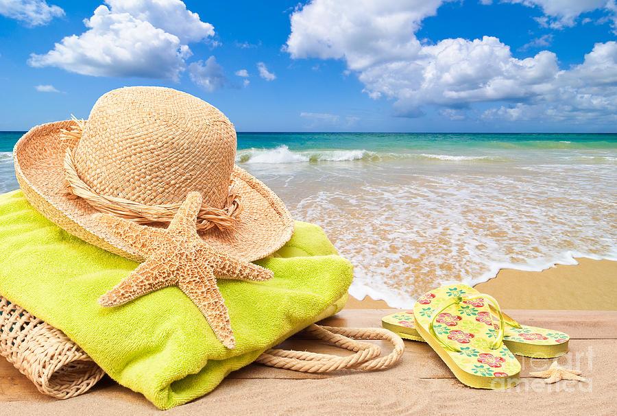 Beach Bag With Sun Hat Photograph by Amanda Elwell 7839fb6faed