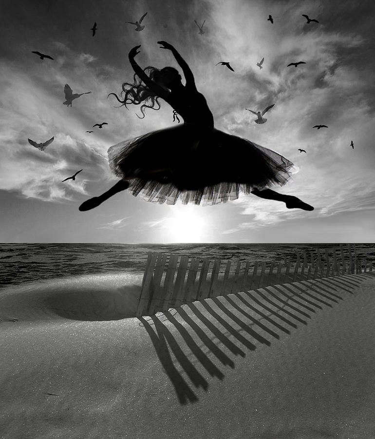 Ballerina Digital Art - Beach Ballerina by Nina Bradica