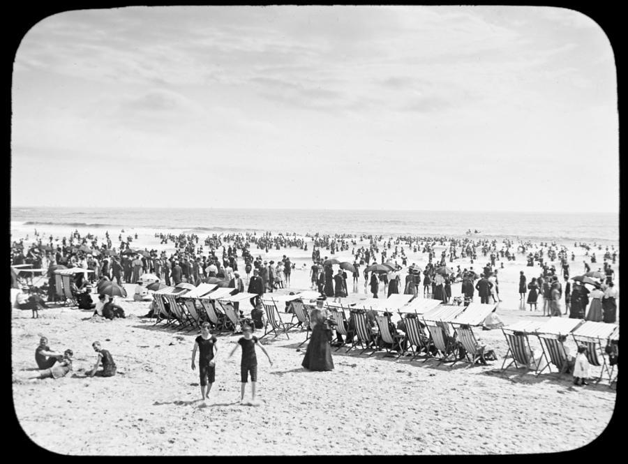 Beach Bathers Ocean Atlantic City New Jersey 1902 Photograph