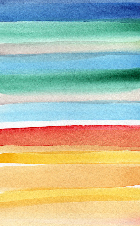 Sky Painting - Beach Blanket- colorful abstract painting by Linda Woods