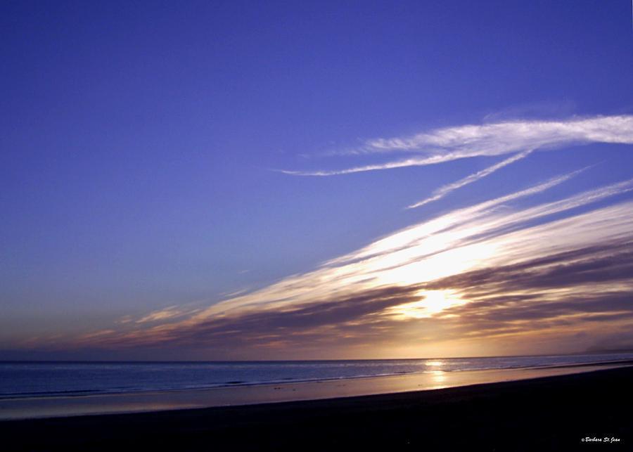 Golden Sunset Photograph - Beach Blue Sunset by Barbara St Jean