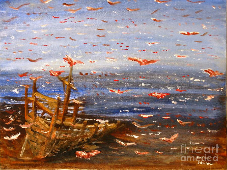 Birds Painting - Beach Boat And Birds by Michael Anthony Edwards