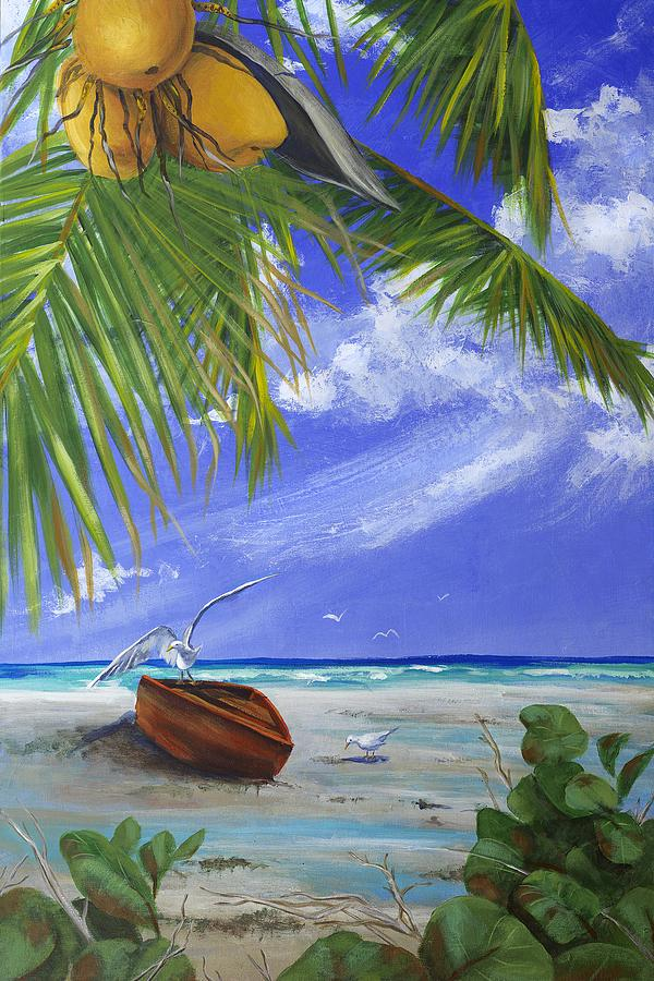 Beach Boat Red Painting by Jeanette Schuerr