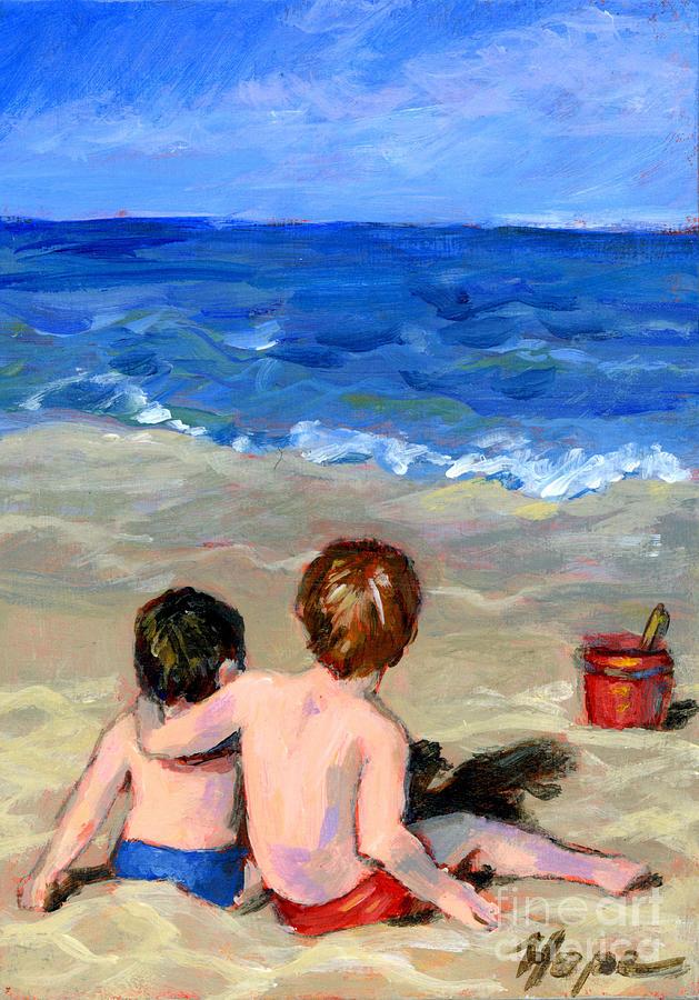 Beach Painting - Beach Boys by Hope Lane