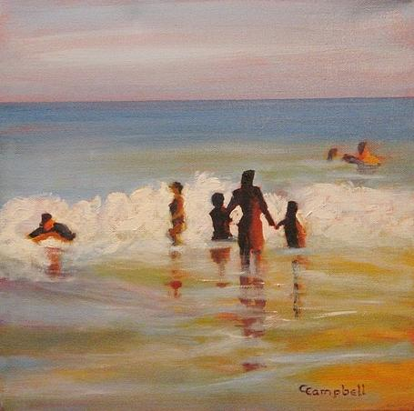Beach Painting - Beach Breakers by Cecelia Campbell