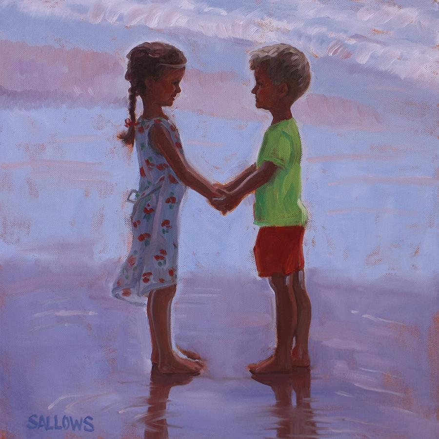 Beach Painting - Beach Buddies by Nora Sallows