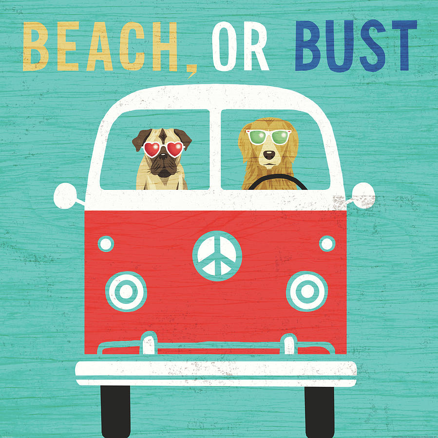 Animals Painting - Beach Bums Bus by Michael Mullan