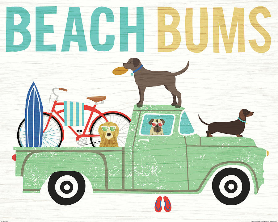 Animals Painting - Beach Bums Truck I by Michael Mullan