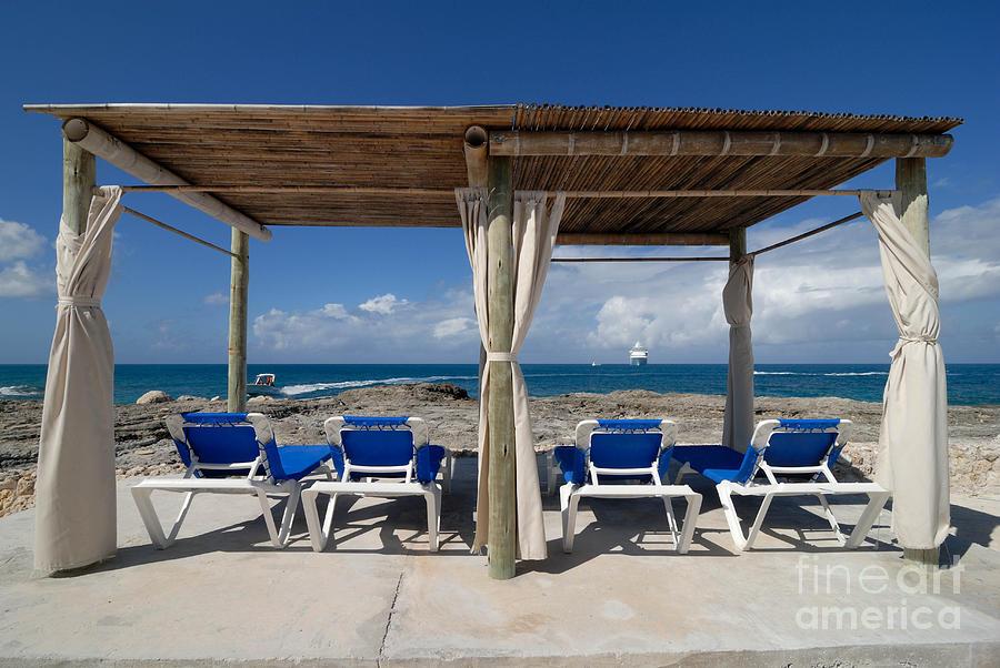 Bahamas Photograph   Beach Cabana With Lounge Chairs By Amy Cicconi