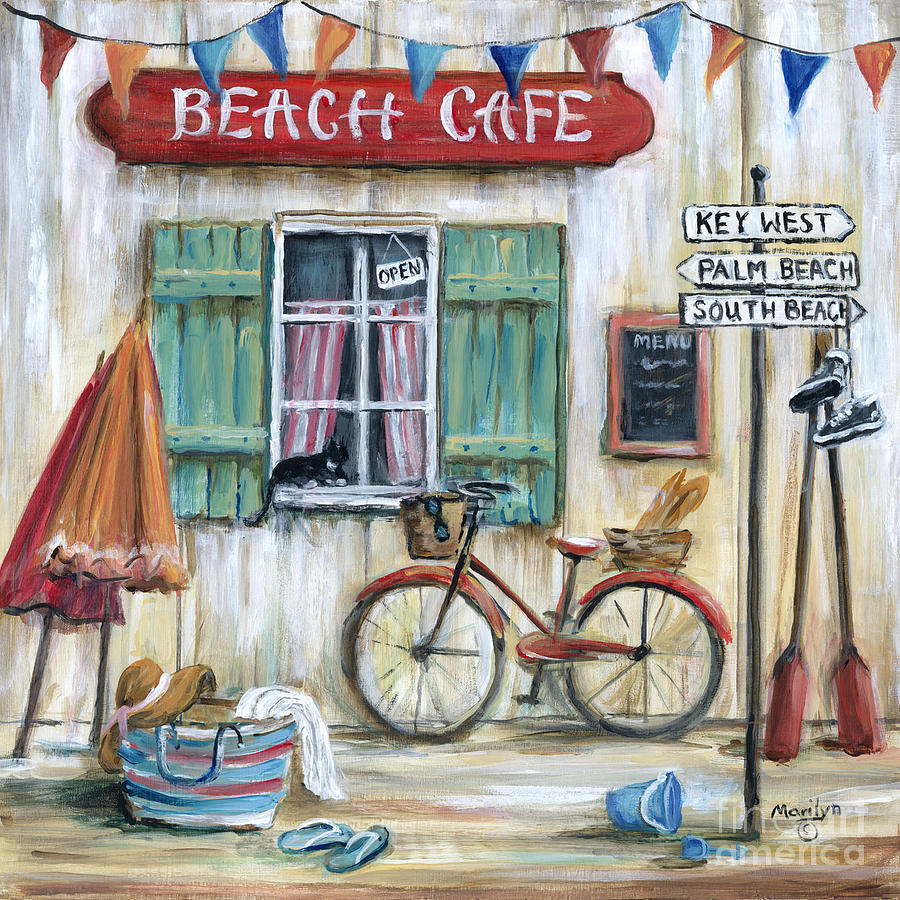 Beach Cafe Painting By Marilyn Dunlap