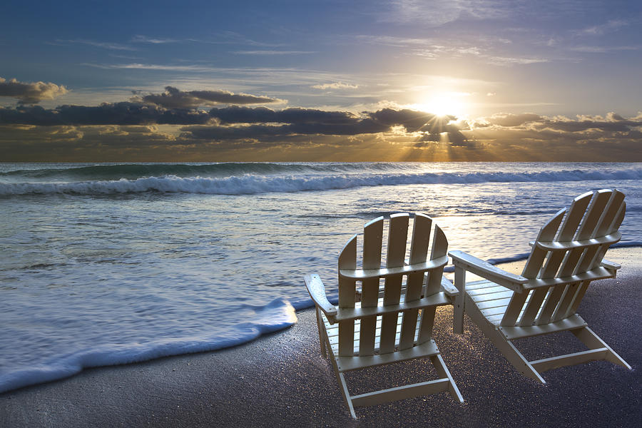 Clouds Photograph - Beach Chairs by Debra and Dave Vanderlaan