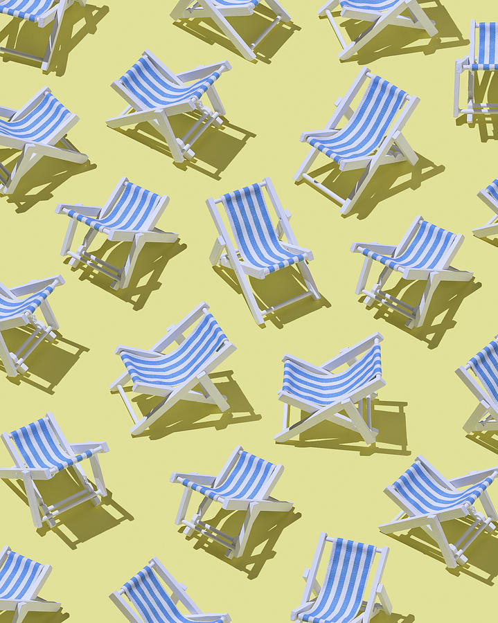 Beach Chairs On Yellow Ground, 3d Digital Art by Westend61