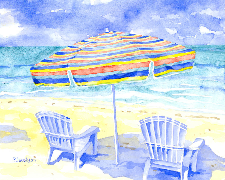 Beach Chairs Painting - Beach Chairs by Pauline Walsh Jacobson