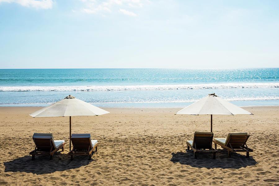 Beach Chairs, Seminyak Beach, Bali Photograph by John Harper