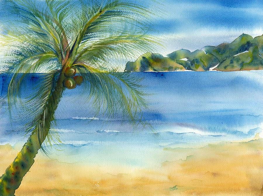 Beach Coconut Deborah Pence on Metal Wall Art Mountains Trees
