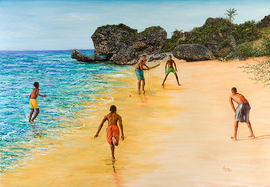 Sand Painting - Beach Cricket by Victor Collector