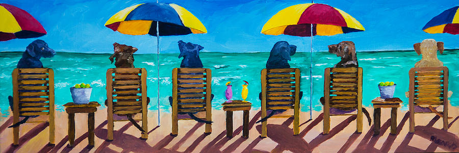 Labrador Retriever Painting - Beach Dogs by Roger Wedegis
