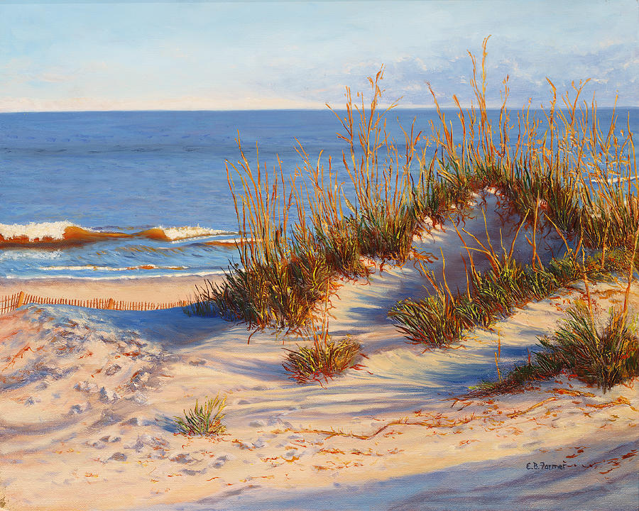Seascape Painting - Beach Dune, Atlantic Ocean Beach by Elaine Farmer