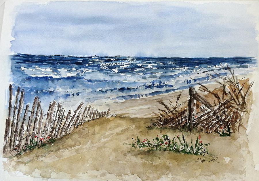 Beach Painting - Beach Fence by Stephanie Sodel