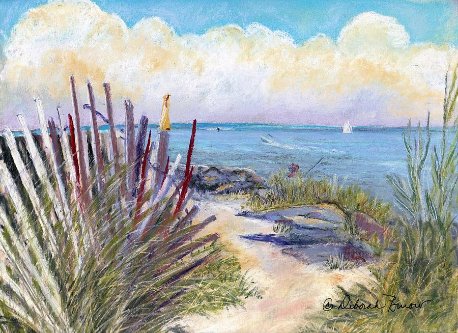 Beach Painting - Beach Fence With Ferry by Deborah Burow