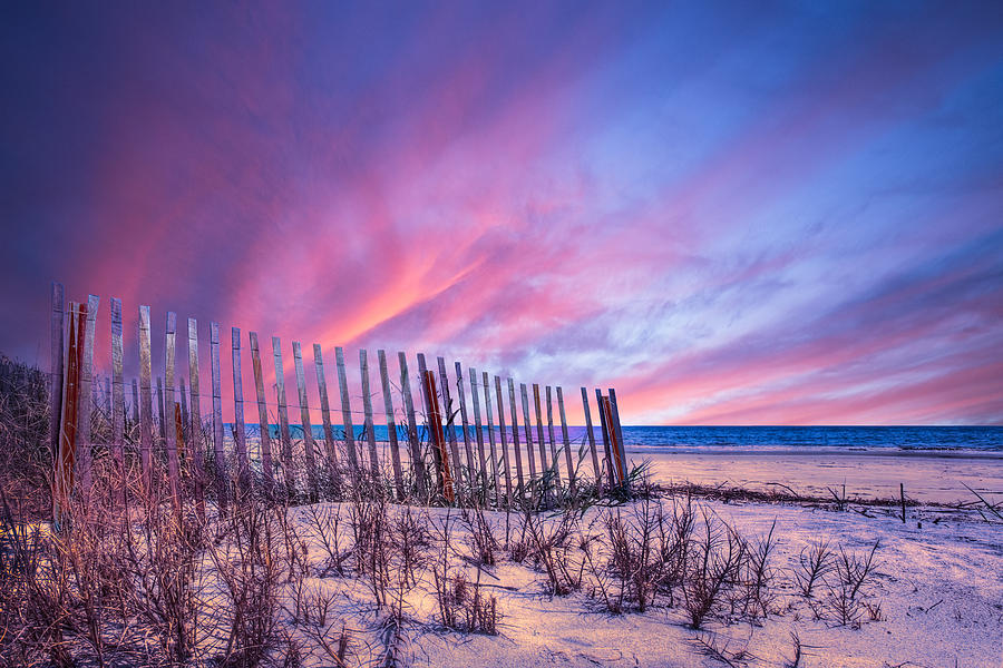 Clouds Photograph - Beach Fences by Debra and Dave Vanderlaan