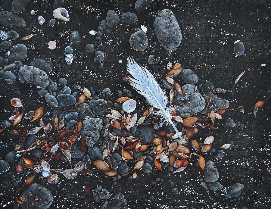 Beach Drawing - Beach Floor. Flinders Vic by Elena Kolotusha