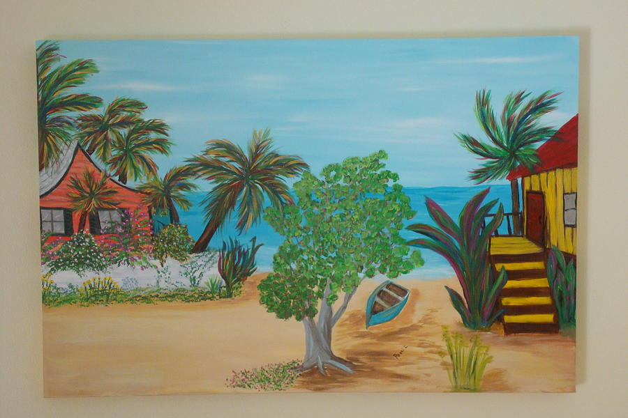 Beach Front Cottage Painting by Patti Lauer
