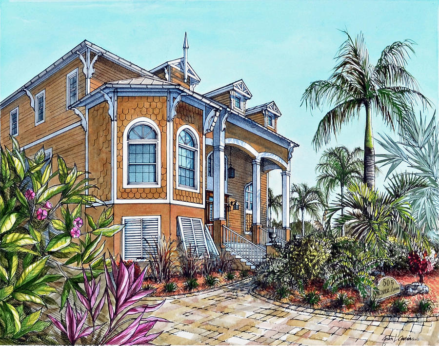 magnolia beach house drawing by joan garcia