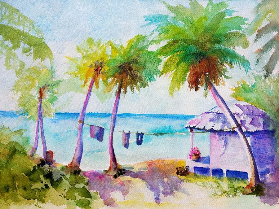 Beach Hut Painting - Beach House Tropical Paradise by Carlin Blahnik CarlinArtWatercolor