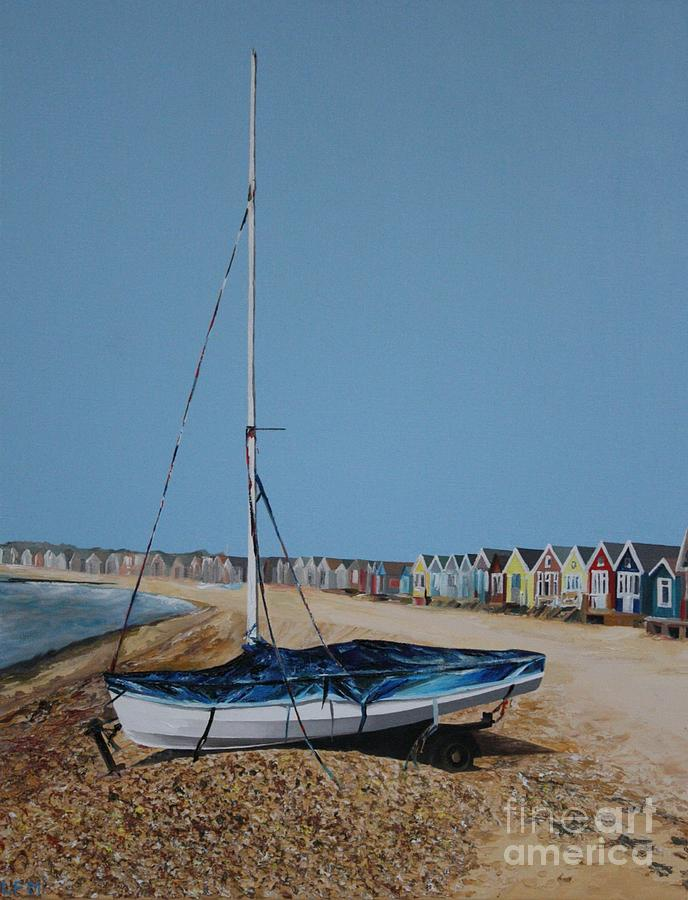 Beach Huts Painting - Beach Huts And Boat On The Spit by Linda Monk