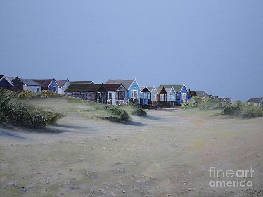 Beach Huts Painting - Beach Huts And Dunes by Linda Monk