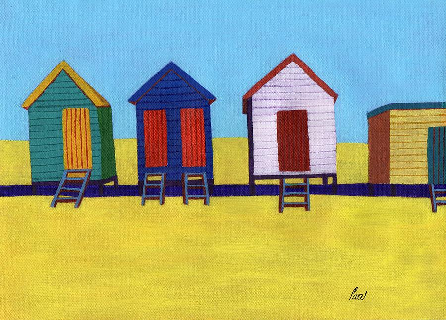 Sun Painting - Beach Huts by Bav Patel