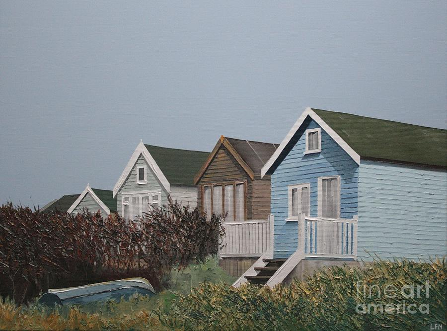 Beach Hut Painting - Beach Huts In A Row by Linda Monk