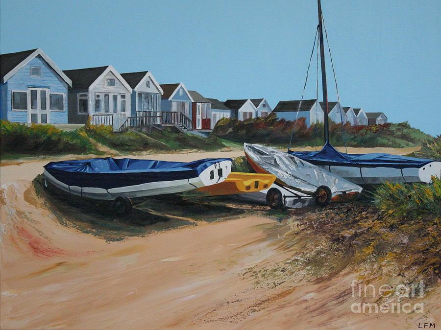 Beach Hut Painting - Beach Huts by Linda Monk