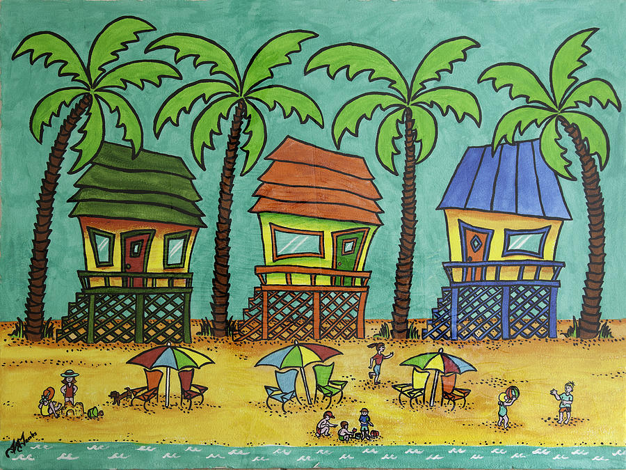 Beach Painting - Beach Huts With Children by Joyce M Jacobs