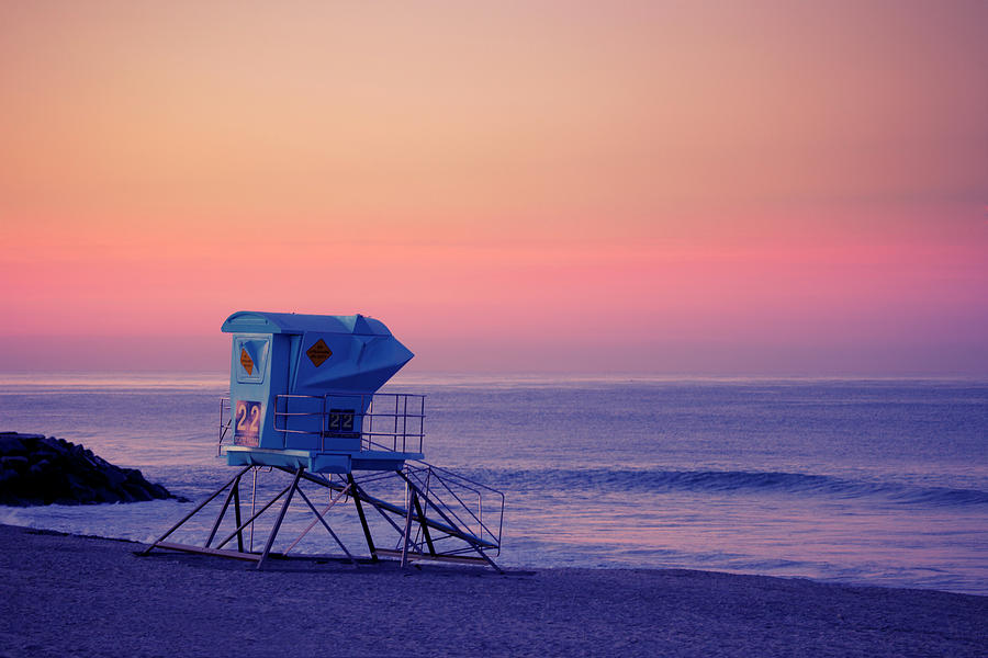 Beach Lifeguard Station At Sunset Photograph by Skodonnell