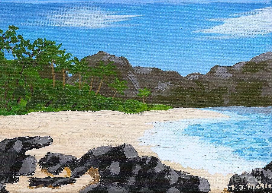 Beach Painting - Beach On Helicopter Island by Vicki Maheu