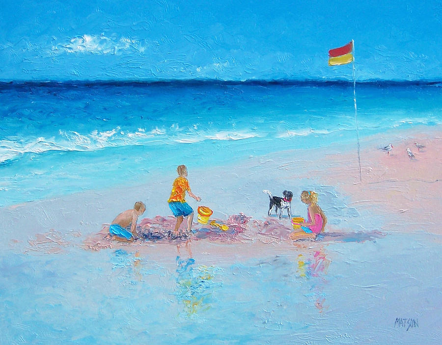 Beach Painting - Beach Painting Building Sandcastles By Jan Matson by Jan Matson