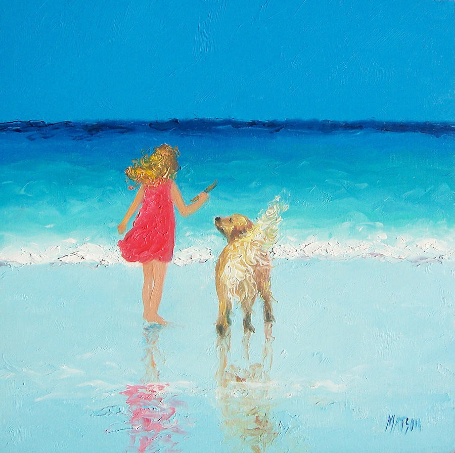 Beach Painting - Beach Painting sunkissed Hair  by Jan Matson
