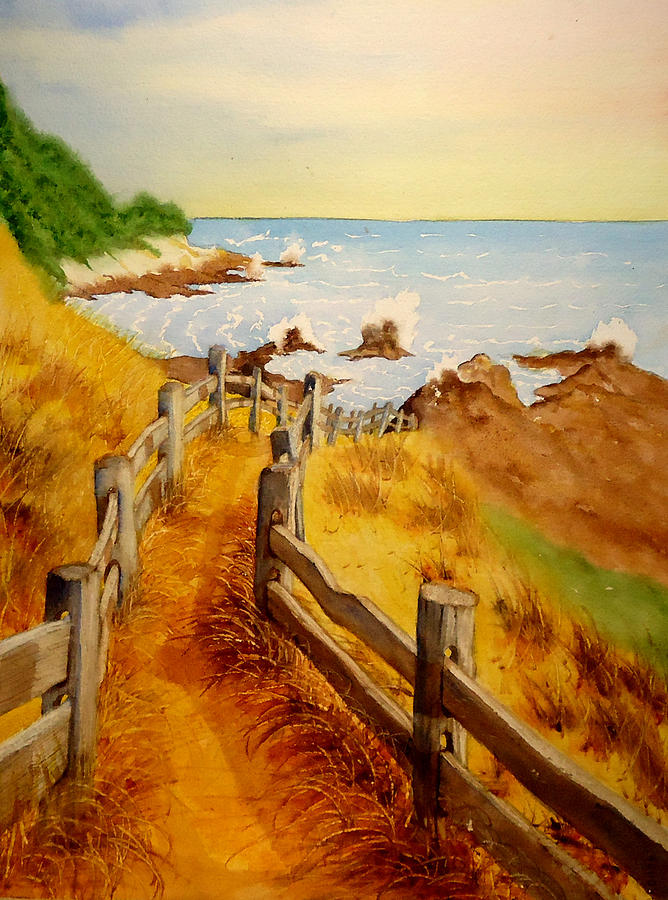 Hillside Painting - Beach Path by Sandra Stone