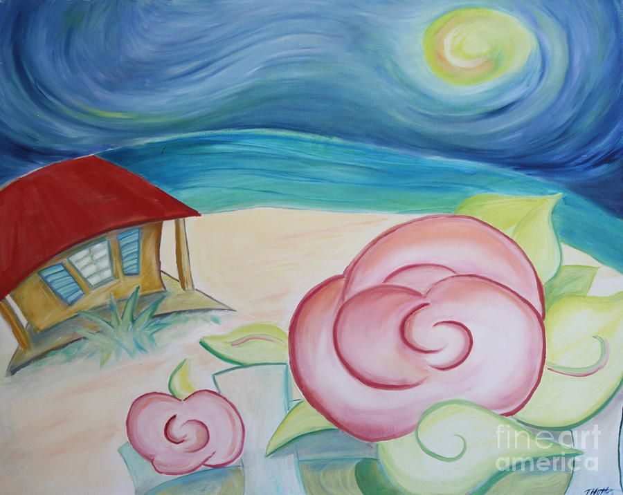 Landscape Painting - Beach Rose by Teresa Hutto
