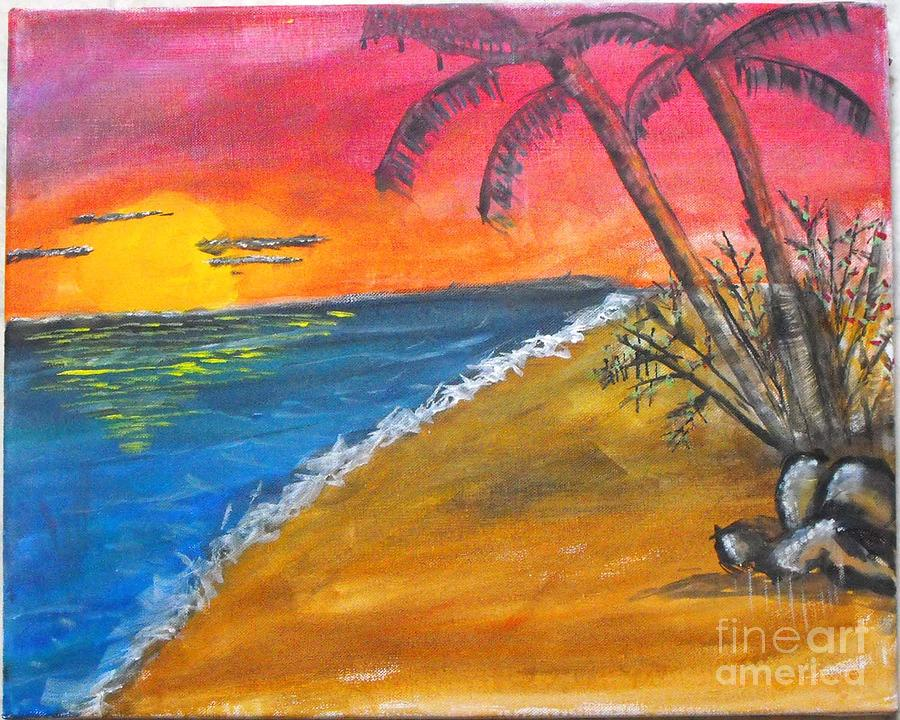 beach scene painting by catherine ratliff