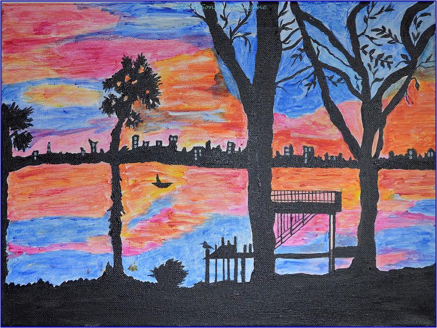 Acrylic Painting Painting - Beach Silhouette by Sonali Gangane