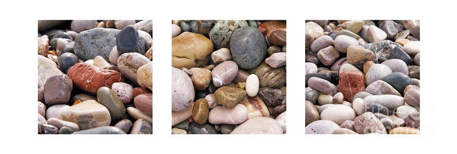 Abstract Photograph - Beach Stones Triptych by Stelios Kleanthous