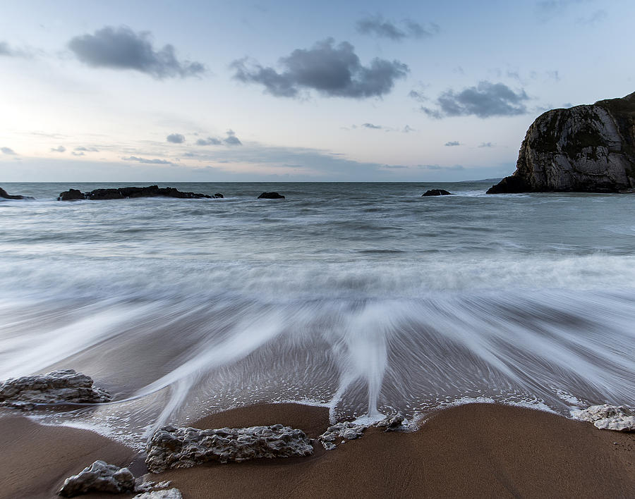 Landscape Photograph - Beach Sunrise Landscape With Long Exposure Waves Movement by Matthew Gibson