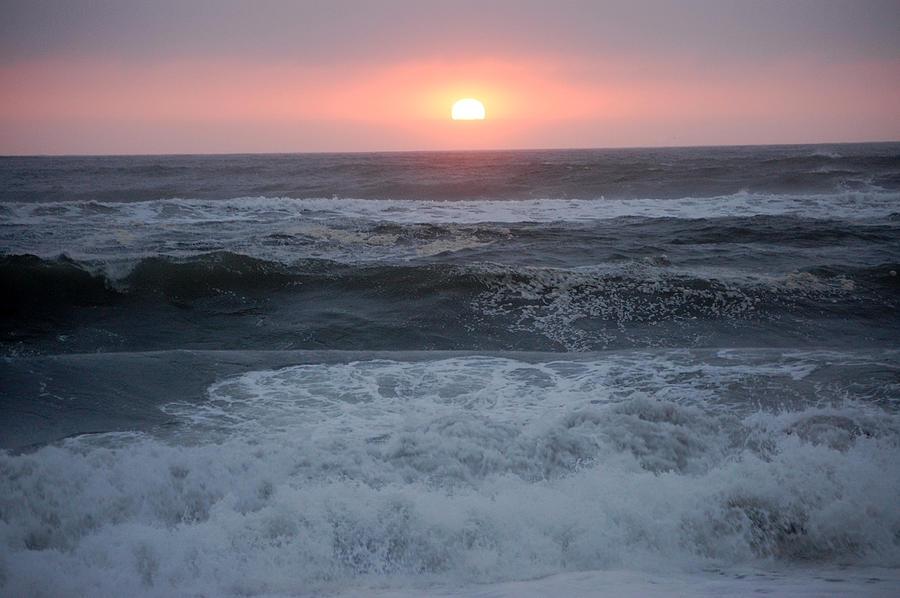 Beach Sunset Sand Waves Ocean Gold Bluffs Ca Or Photograph - Beach Sunset by Holly Blunkall